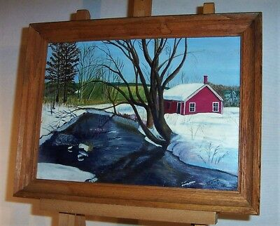 1964 Winter in Oxford MAINE Original Oil Landscape Painting by Guy Monk Bridgton