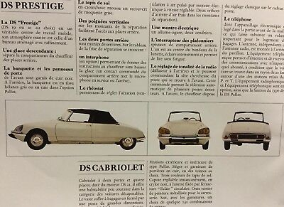 Superbe Catalogue 1967 CITROËN DS !!! DS CABRIOLET PALLAS PRESTIGE