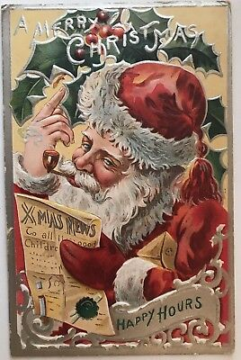 Santa Claus with Pipe Reading Newspaper Antique Embossed Christmas Postcard-k433