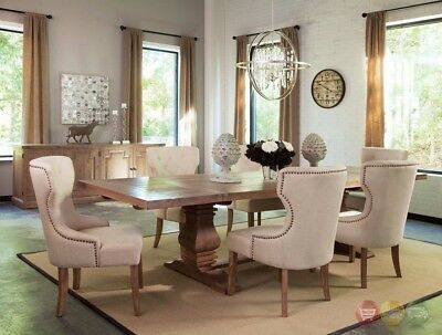 Florence Solid Mahogany And Pine 8pc Beige Dining Room Set with Natural Finish