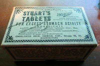vintage STUARTS TABLETS patent medicine for excess stomach acidity sealed box