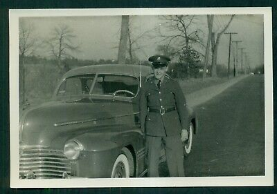 1930's State Police Officer Next to Car Original Photograph
