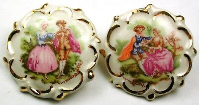 """BB 2 Vintage Porcelain Buttons w/ Young Couple Scenes w/ Gold Luster - 1 & 3/8"""""""