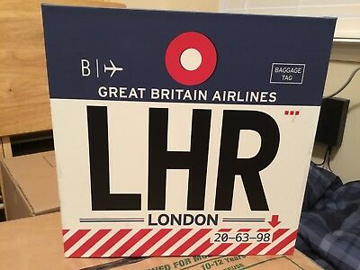 LHR London Heathrow International Airport Sign! - See Pic For Small Defect
