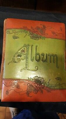 Antique Celluloid MUSICAL Photo Album Cabinet Cards Victorian WORKS
