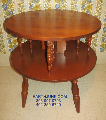 Tell City Young Republic Round End Lamp Table  Hard Rock Andover Maple Wood 825