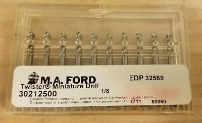"(10 Pack) M.A.Ford 1/8"" Carbide Twister Drill (30212500)"