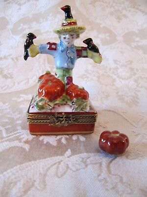 French Limoges Halloween Box~Scarecrow With Crow Birds & Pumpkins