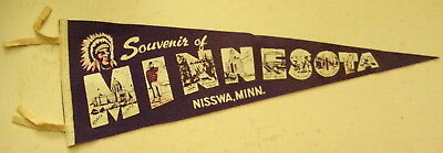c1940s souvenir felt pennant from Nisswa, Minnesota with painted Indian graphics
