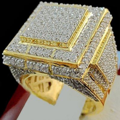 24K Yellow Gold Iced Out BAND Hip Hop Engagement MICROPAVE CZ Pinky Mens Ring