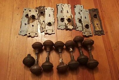 Antique Victorian Door Knobs Doorknobs & Back Plates Hardware Collectible Lot