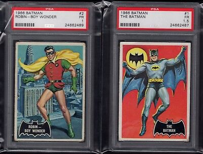 "1966 Topps The Batman ""Batman"" and ""Robin - Boy Wonder"" PSA 1 and 1.5 graded"