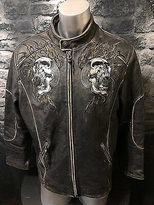 Affliction Limited Edition Leather Jacket Coat Embroidered Skulls Size - XL
