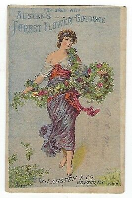 Austen's Forest Flower Cologne late 1800's perfume trade card & Oswego Bitters