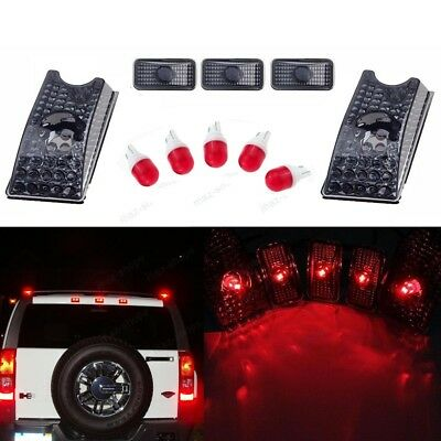 5x Smoke Roof Clearance Top Marker Light + Red Ceramics LED For 03-09 Hummer H2