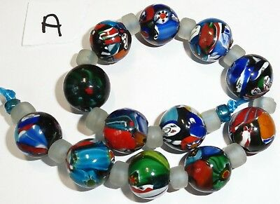 12 Vintage West African Mosaic Round Glass Trade Beads...Approx. 18mm