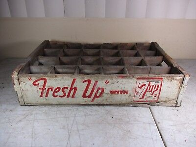 Vintage Wood Advertising 7-UP Soda Pop 24-Bottle Carrier 'Fresh Up With 7-UP (1)