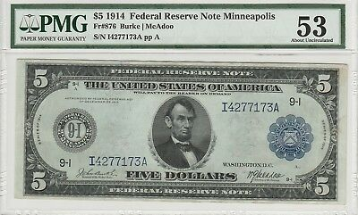 Fr. 876 $5 1914 Federal Reserve Note  PMG About Uncirculated 53.