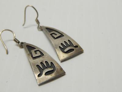 ANTIQUE VINTAGE MEXICAN STERLING SILVER DANGLER EARRINGS MEXICO - solid + nice !