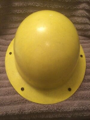 Vintage Yellow M.s.a. Fiber Glass Hard Hat. Adjustable Leather Liner