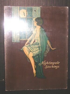 Nightingale Stockings 1937 Store Display Sign Flapper Girl at Window Crystaloid