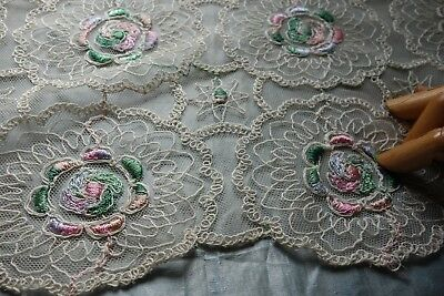 """ANTIQUE Pastel FLORAL Embroidered ECRU Cotton Tulle RUNNER 11""""W x 38""""L"""