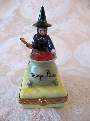 Artoria French Limoges Halloween Witches Magic Brew Trinket Box