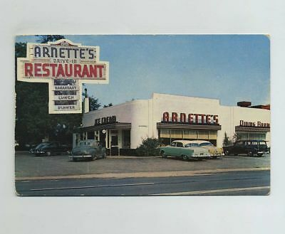 Colonial Heights VA Advertising Postcard Arnettes Drive In Diner Restaurant wz89