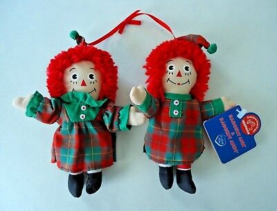 """2002 Raggedy Ann & Andy 5"""" Christmas Ornament New With Tags"""