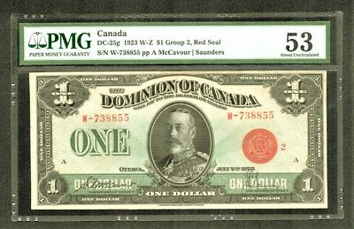 DC-25g $1 1923 Dominion of Canada RED SEAL W-Z Group 2 PMG About Uncirculated 53