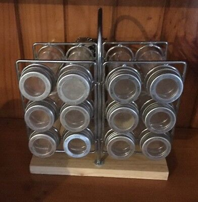 Spice Rack Wooden Metal Portable With 12 Empty Plastic Storage Tube Containers