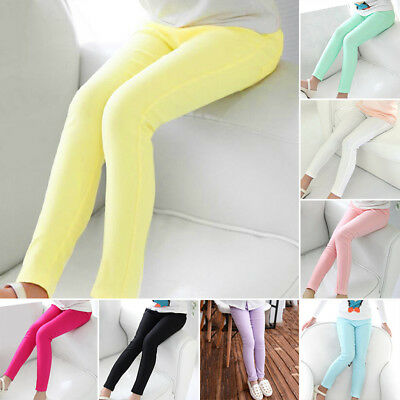 Kids Girl Stretch Skinny School Child Casual Trousers Leggings Tight Pencil Pant