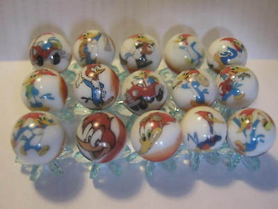 woody woodpecker 5/8 size glass marbles lot collection with STANDS