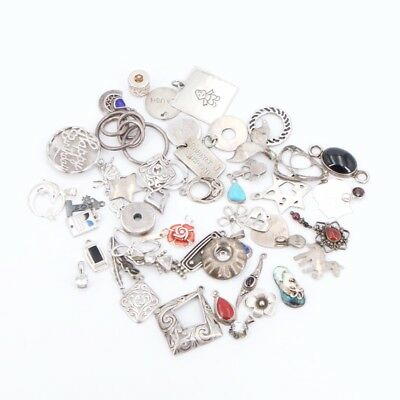 VTG Sterling Silver Lot of 52 Assorted Necklace Charm Pendants NOT SCRAP 122.5g
