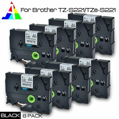 8pk TZ-S221/TZe-S221 P-Touch Compatible for Brother Black on white Tape 9mm 26.2
