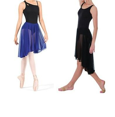 Body Wrappers Womens ballet skirt Adult Hi-Lo Pull On Skirt BLACK S-M