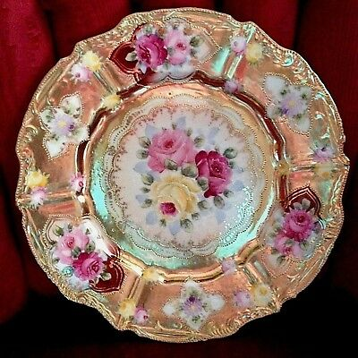 """Antique Floral NIPPON HP Porcelain Gold Floral PLATE Pink Yellow Roses 9-3/4""""d"""