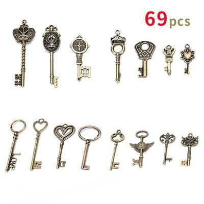 69Antique set Vintage Bronze Skeleton Old Look  Keys Fancy Heart Bow Pendant J