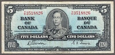 1937 Bank of Canada - $5.00 Bank Note - Very Fine - Gordon Towers T/C 3518826