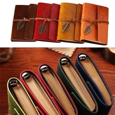 Retro Leather Vintage String Leaf Blank Diary Notebook Journal Sketchbook D