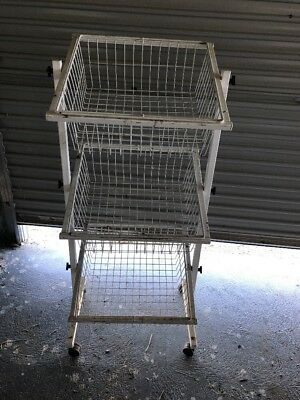 Shop Display Rack - 3 Basket Impulse Buy Unit on wheels, white