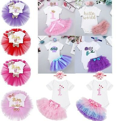 Baby Girls First 1st Birthday Outfit Romper Tutu Dress Skirt Cake Smash Headband