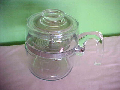 VTG Complete PYREX FLAMEWARE PERCOLATOR 4-6 cup- clear glass 7756 USA coffee pot