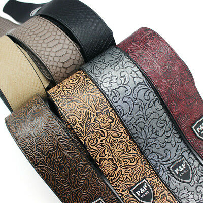 Adjustable Soft PU Leather Strap Belt for Electric Acoustic Guitar Bass W3R7H