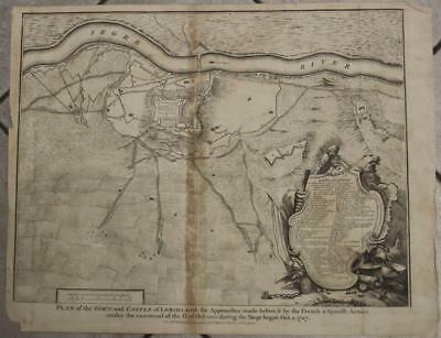 Lérida Siege Of Lérida Spain 1745 Isaac Basire Antique Copper Engraved Map