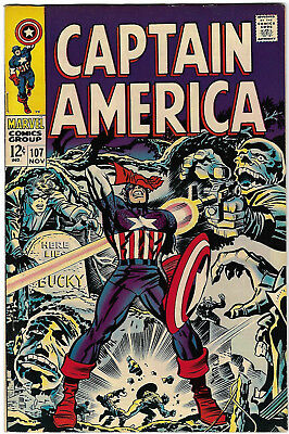 "1968. ""CAPTAIN AMERICA"". Vintage Marvel comic Vol.1 #107. Fine."