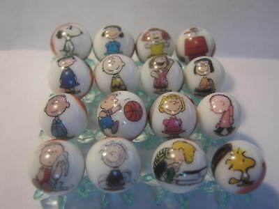 Peanuts Gang 5/8 size glass marbles lot collection with STANDS