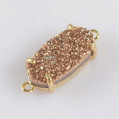 14x7mm Natural Agate Titanium Druzy Claw Prong Connector Gold Plated H123727