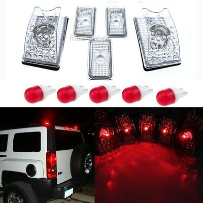 5Pc Clear Roof Clearance Top Marker Light + Red Ceramics LED For 03-09 Hummer H2