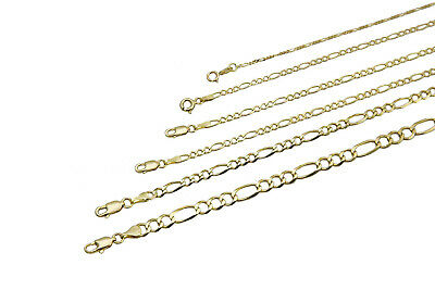 """14k Solid Yellow Gold  Figaro Chain Necklace 1.3-11.5mm Men's Women Sz 16""""-36"""""""